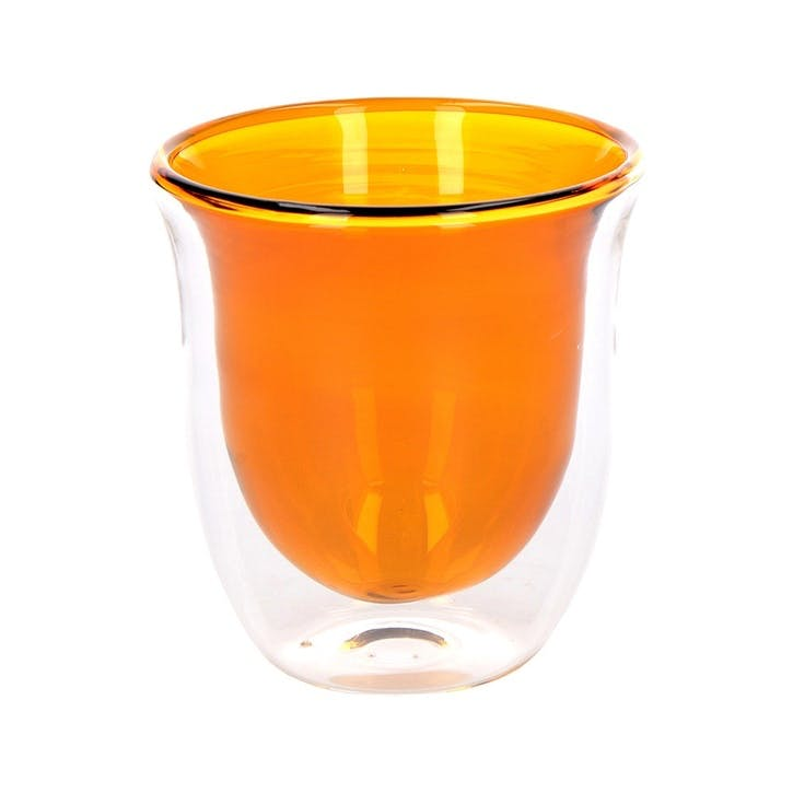 Glass Double Walled Coffee Cup, Set of 2, Amber
