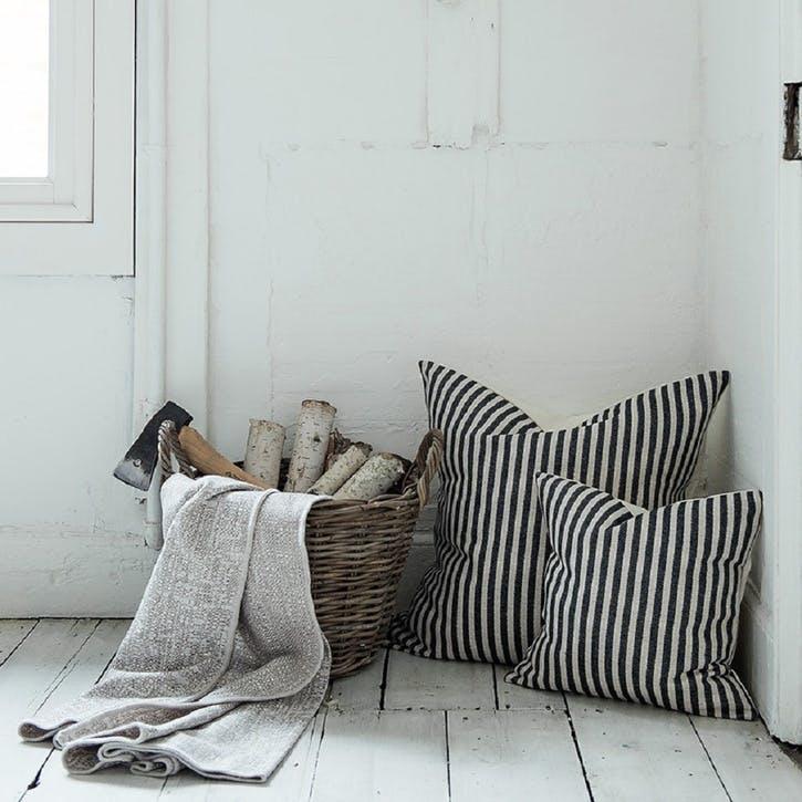 Harbour Stripe Cushion - 40cm; Graphite & Ecru