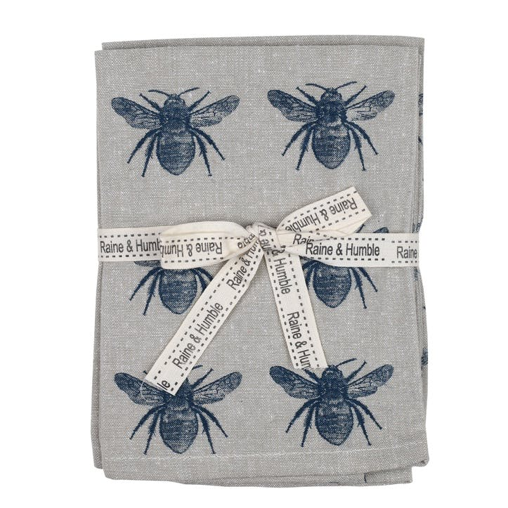 Recycled Honey Bee Napkins, Set of 4, Prussia Blue