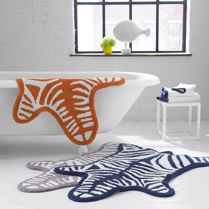 Zebra Bath Rug, Navy
