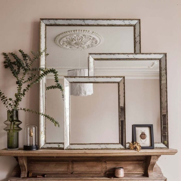 Antiqued Glass Mirror, Large