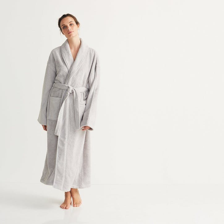 Unisex Classic Cotton Robe, Medium, Pearl Grey
