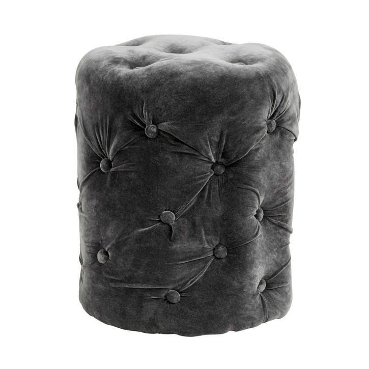 Velvet Pouf, Dark Grey