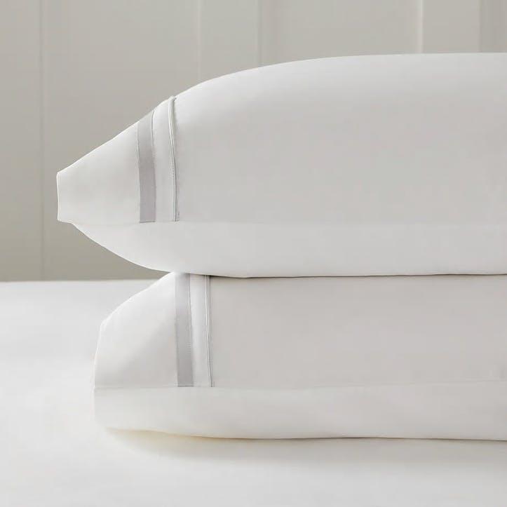 Cavendish Pillowcase, Super King, Silver