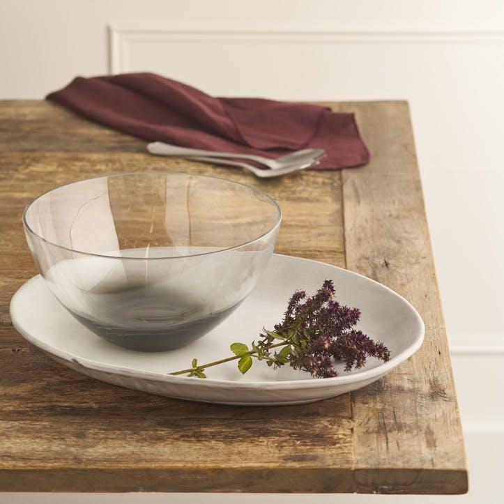 Smoke Grey Glass Serving Bowl