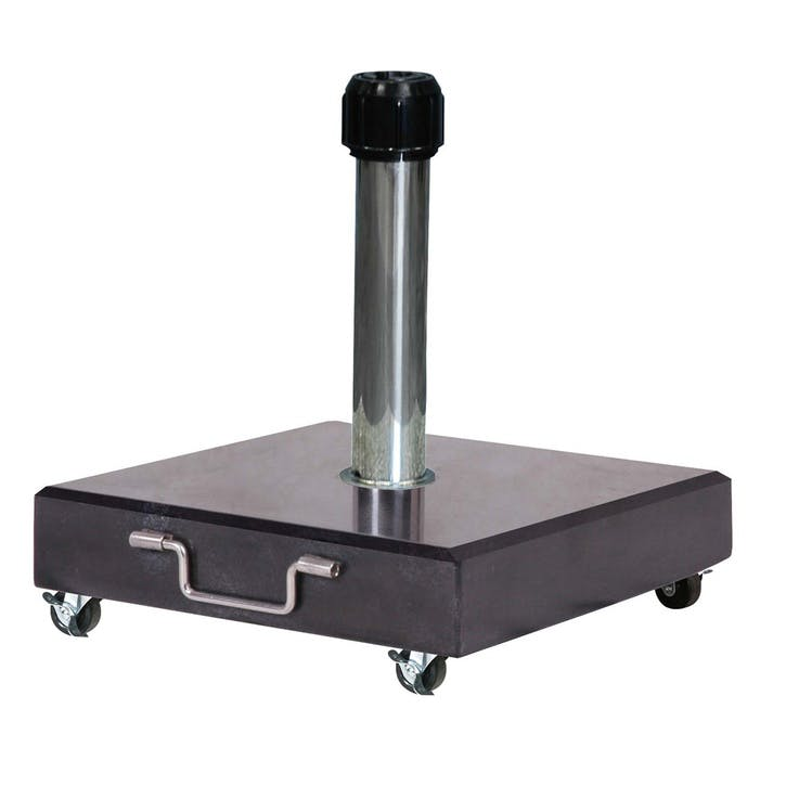 Wheeled Parasol Base, 40KG, Black Polished Granite
