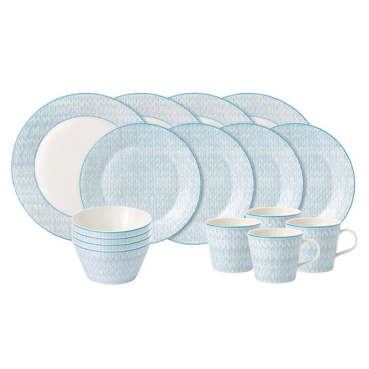 Pastels Herringbone Dinner Set, 16 Piece