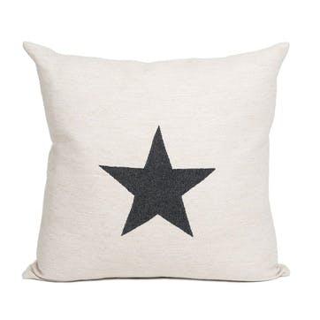 Large Antares Star Cushion - 50cm; Black On Linen