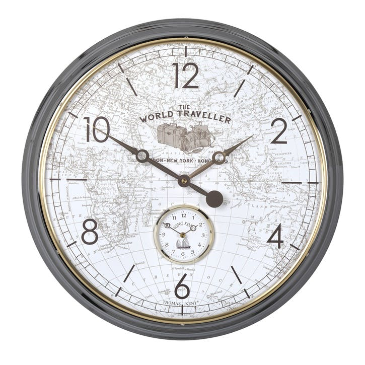Campbell World Traveller Clock, 51cm, Grey