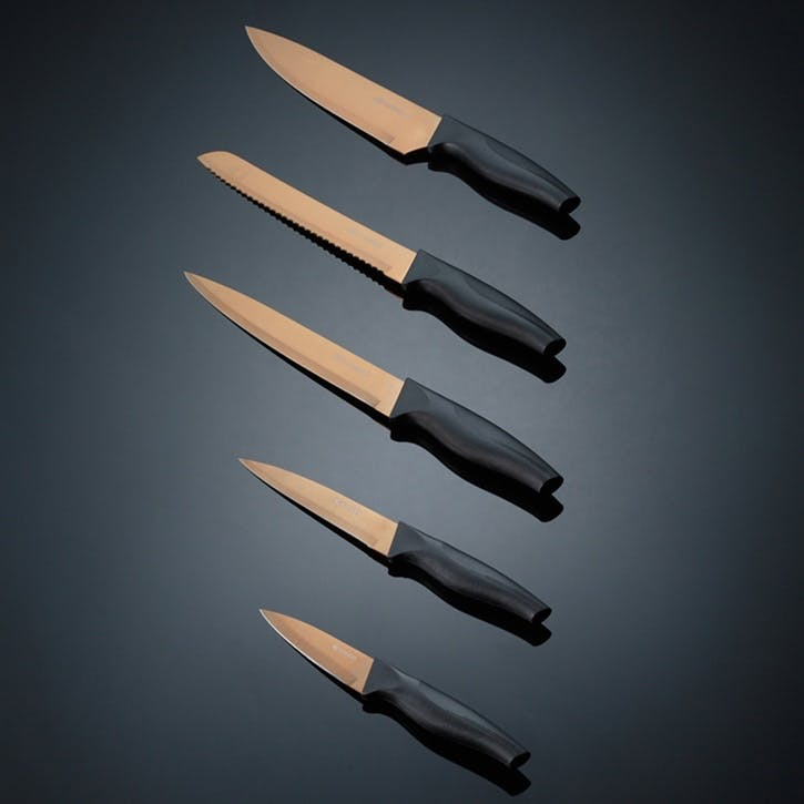 Opulence 5-Piece Knife Block, Rose Gold