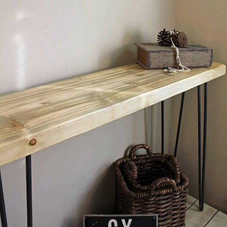 Industrial Style Console Table - 100 x 29.5cm; Natural Finish