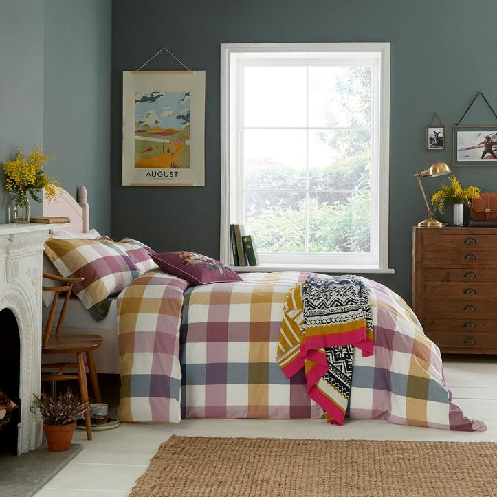 Country Ramble Check King Duvet Cover, Plum