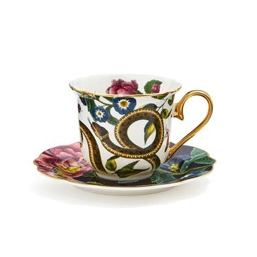 Tea Cup & Saucer Fluted, Snake