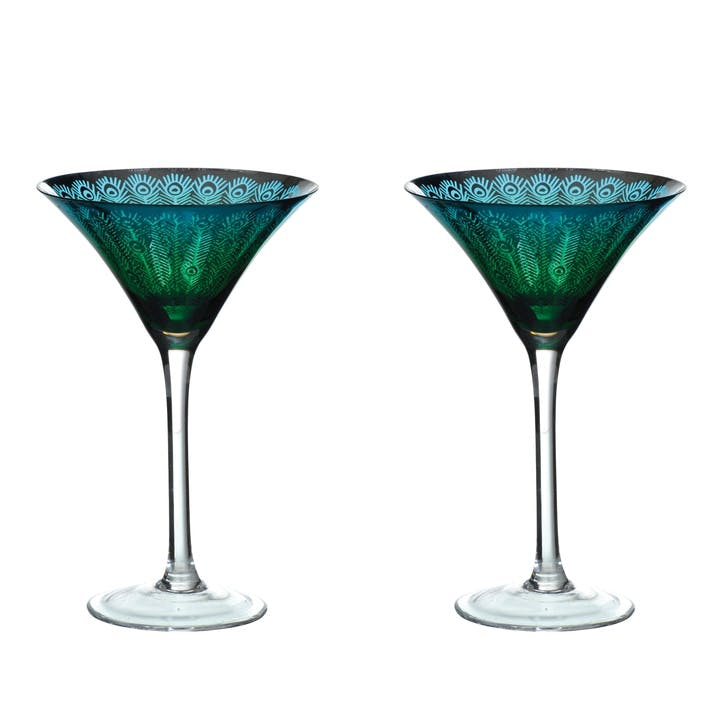 Peacock Martini Glasses, Set of 2