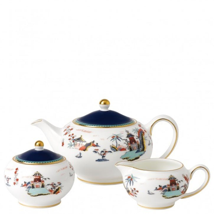 Wonderlust Blue Pagoda 3 Piece Tea Set