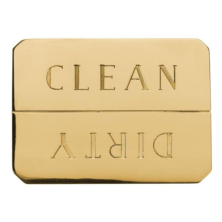 Clean/Dirty Dishwasher Magnet, Brass