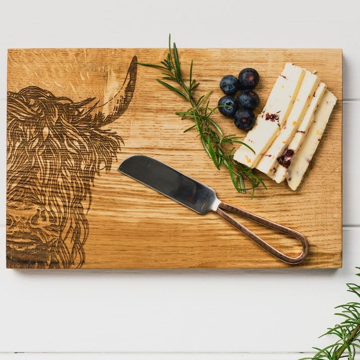 Highland Cow Cheese Board and Knife Set