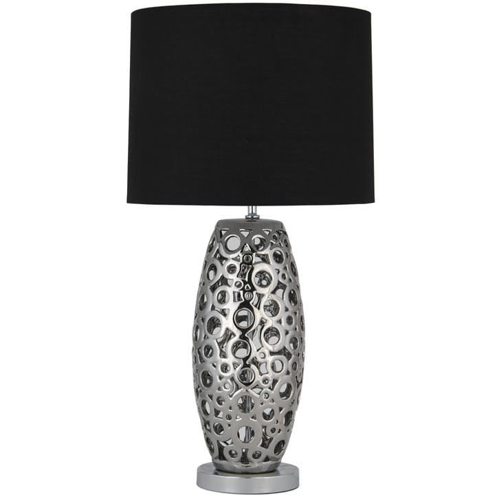Ceramic Laser Cut Table Lamp with Shade; Silver