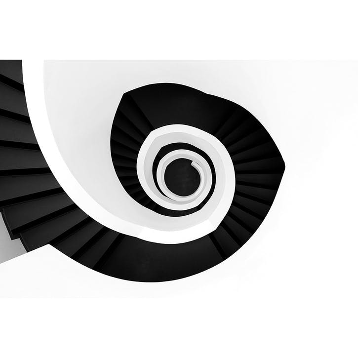 High Angle View Of Spiral Staircase ChromaLuxe Metal Print, H51 x W76cm, Multi
