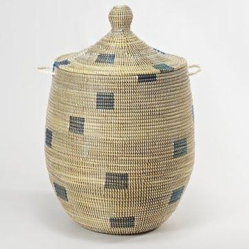 Ali Baba Laundry Basket, Large, Natural/ Blue Squares
