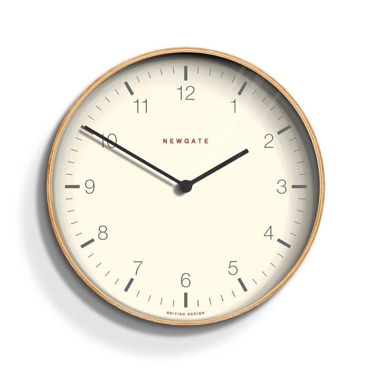 Mr Clarke Wall Clock, Dia. 28cm, Pale Wood/ Numbers