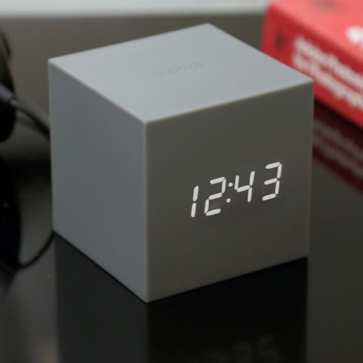 Gravity Cube Click Clock, 7.5cm, Grey