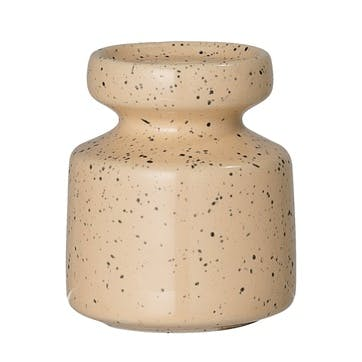 Stoneware Speckle Candlestick, Peach