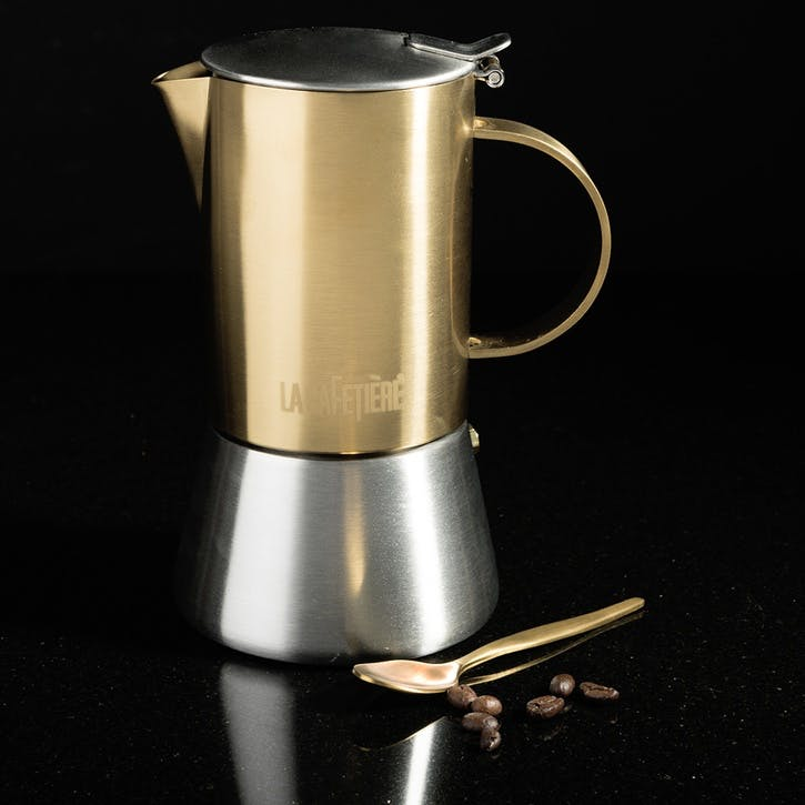 Edited Stainless Steel Brushed Gold Stovetop, 4 Cup