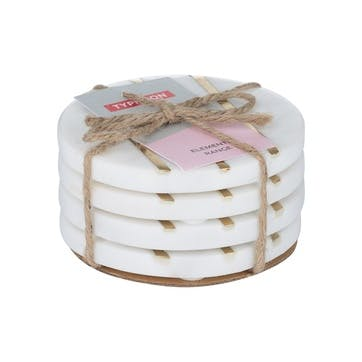 Elements Round Marble Coasters, Set of 4