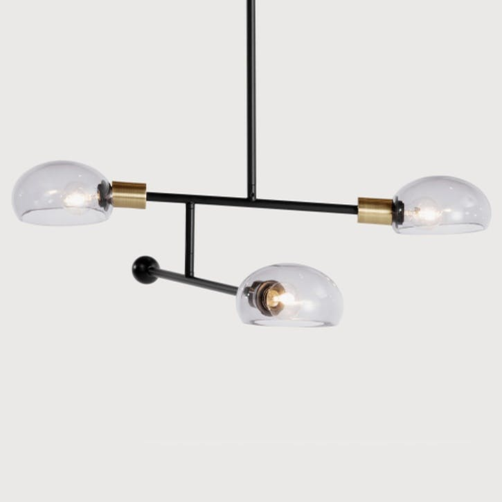 Tangle Pendant Light; Brass/ Smoked Glass