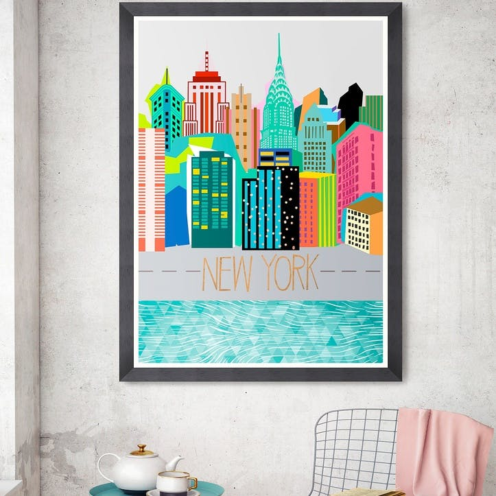 Colours of NY Black Framed Print, 70 x 100cm