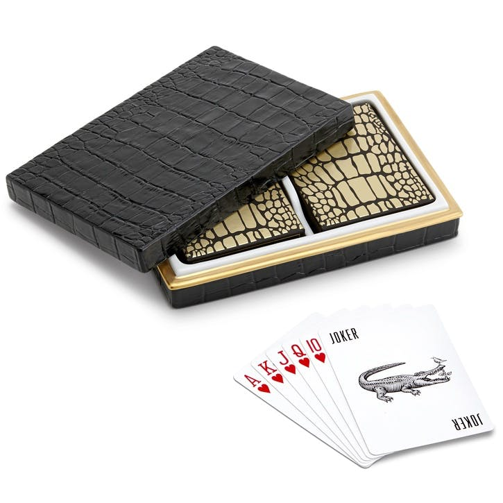 Two Decks Playing Cards with Crocodile Box