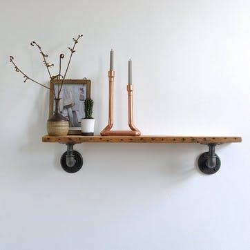 Chalk Farm Reclaimed Industrial Pipe Shelf - 65 x 13cm; Natural