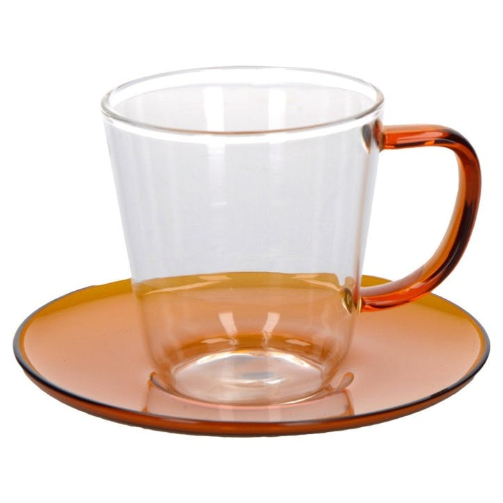 Glass Teacup and Saucer, Amber