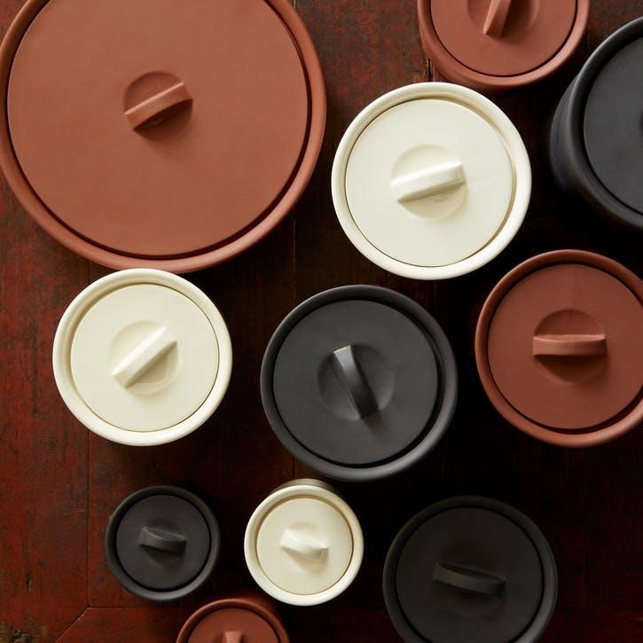 Larder Crock Storage Jar, Black, Small