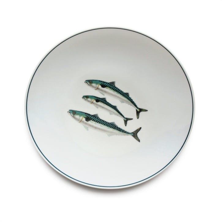 Seaflower Mackerel Dinner Plate, 28cm, Blue