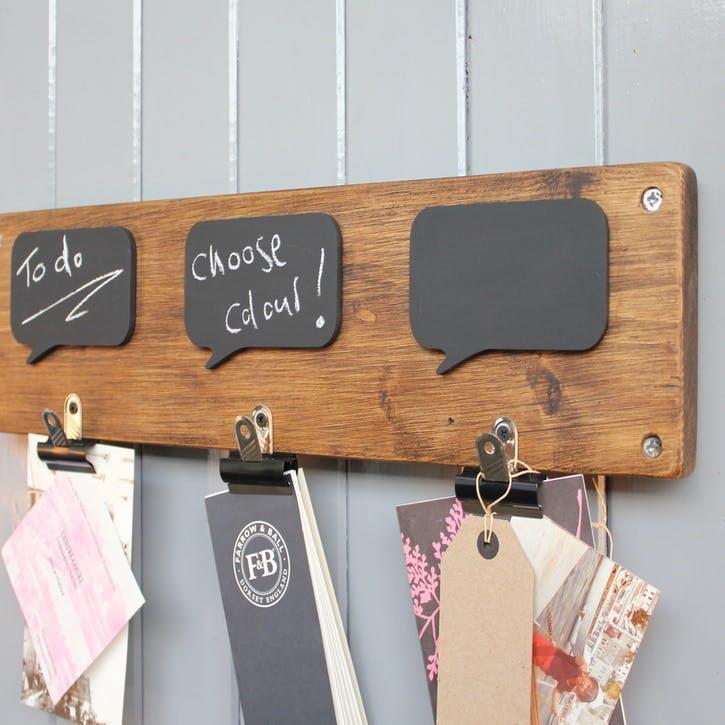 Reclaimed Wood Chalkboard Noticeboard - 54 x 14cm; Natural