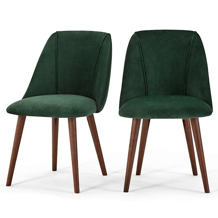 Lule Set of 2 Dining Chairs; Pine Green Velvet