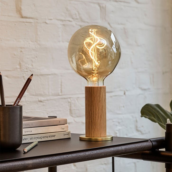 Knuckle Pendant Table Lamp with Voronoi Bulb H30 x D13cm Oak & Brass