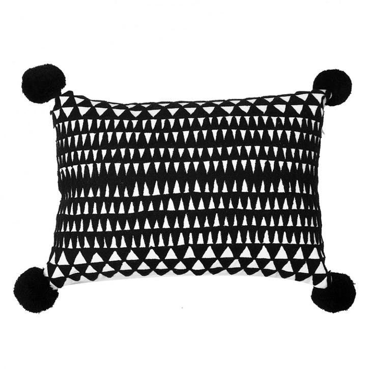 Medina Embroidered Cushion, Black/White