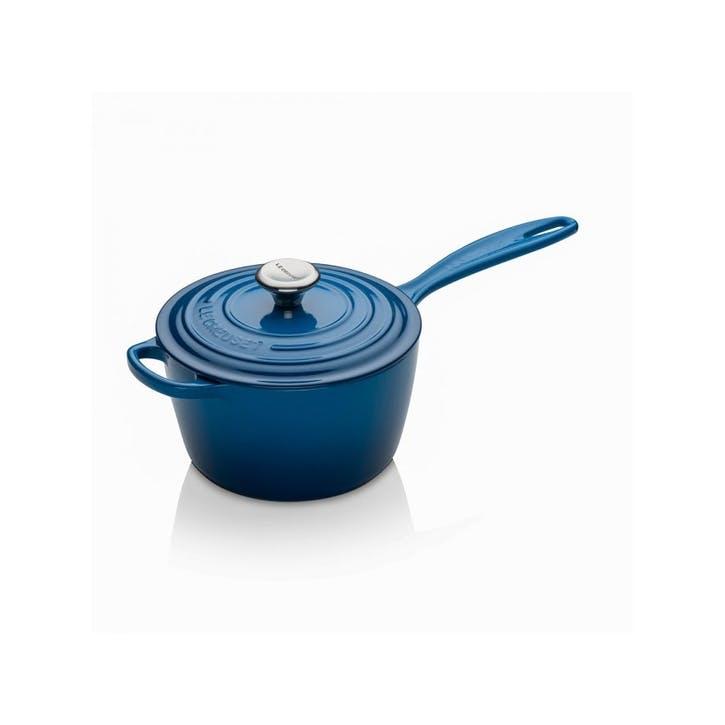 Cast Iron Signature Saucepan - 18cm; Marseille Blue