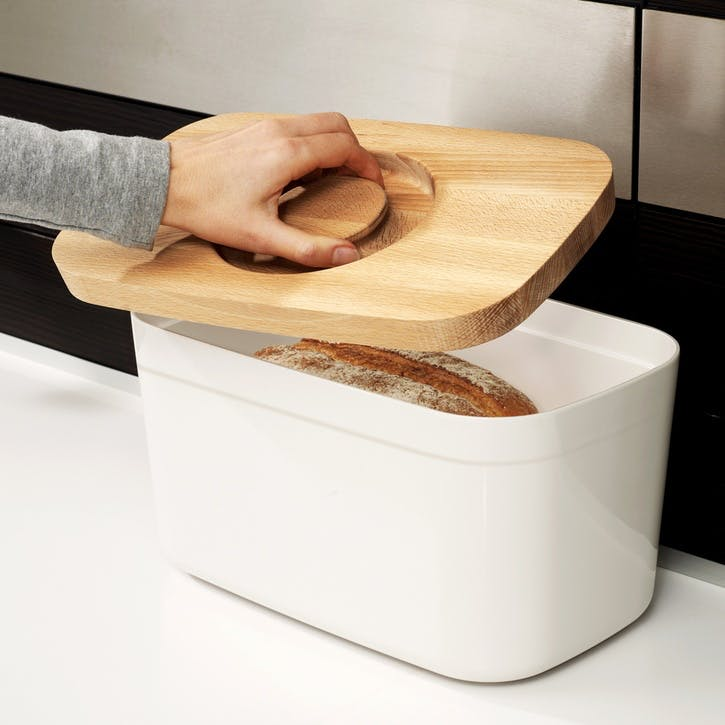Bread Bin with Bamboo Cutting Board Lid; White