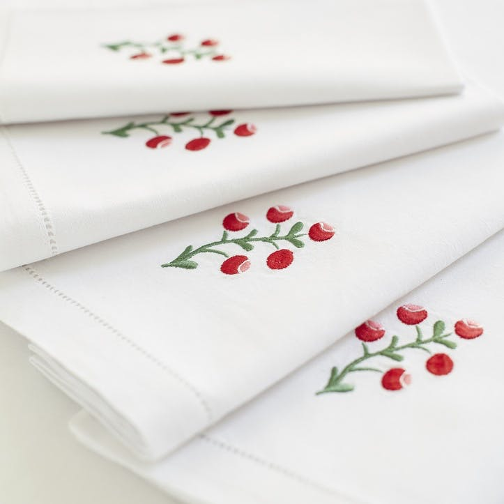 Red Lingonberry Cotton Napkins, Set of 4