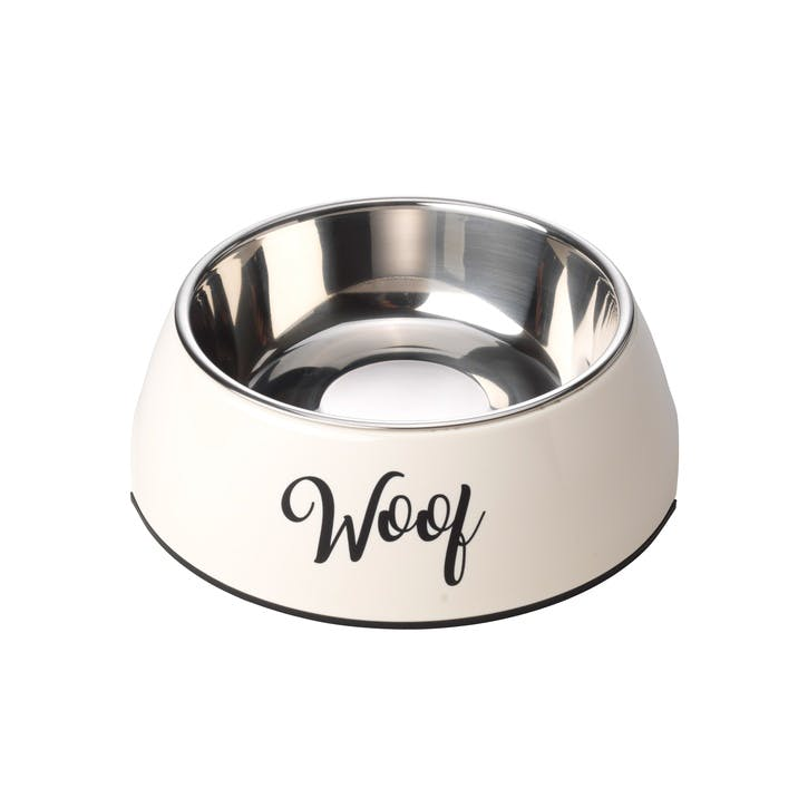 Woof 2 in 1 Dog Bowl, L, Cream