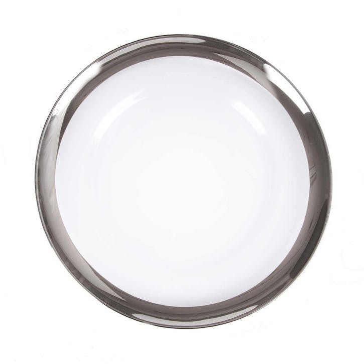 Platinum Banded Edge Glass Chargers, Set of 8