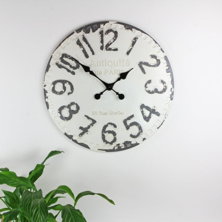 Antique White & Grey Wall Clock