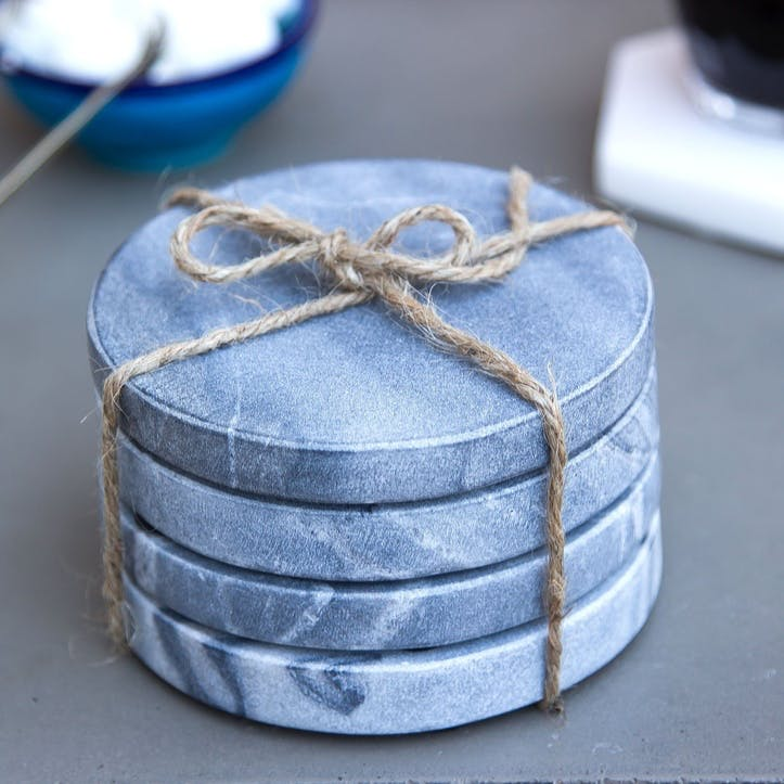 Round Marble Coasters, Set of 4, Grey