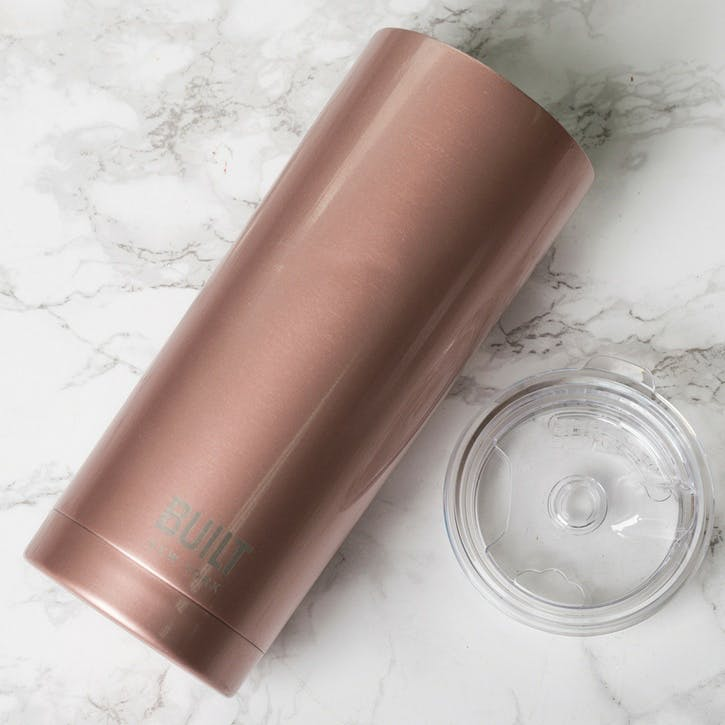 Double Walled Stainless Steel Coffee Cup; Rose Gold