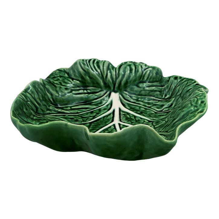 Cabbage Concave Leaf Dish, 26cm, Green