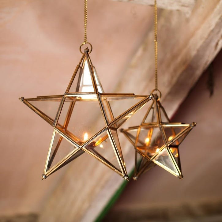 Antique Brass Glass Star - Small
